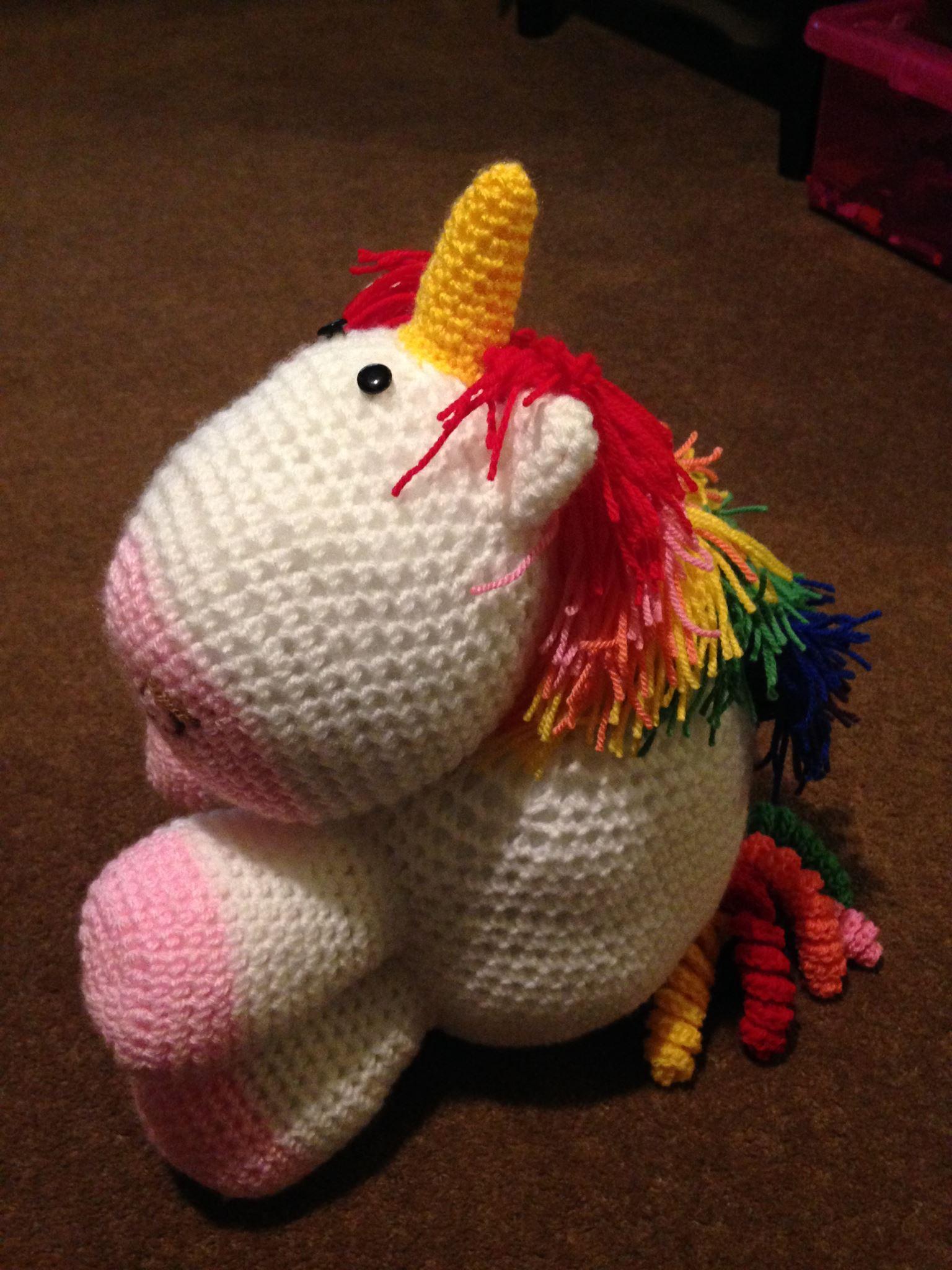 Cuddly crocheted Unicorn.