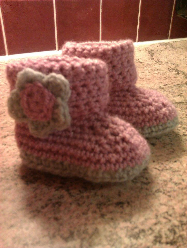 Pink and grey, hand crocheted, booties.