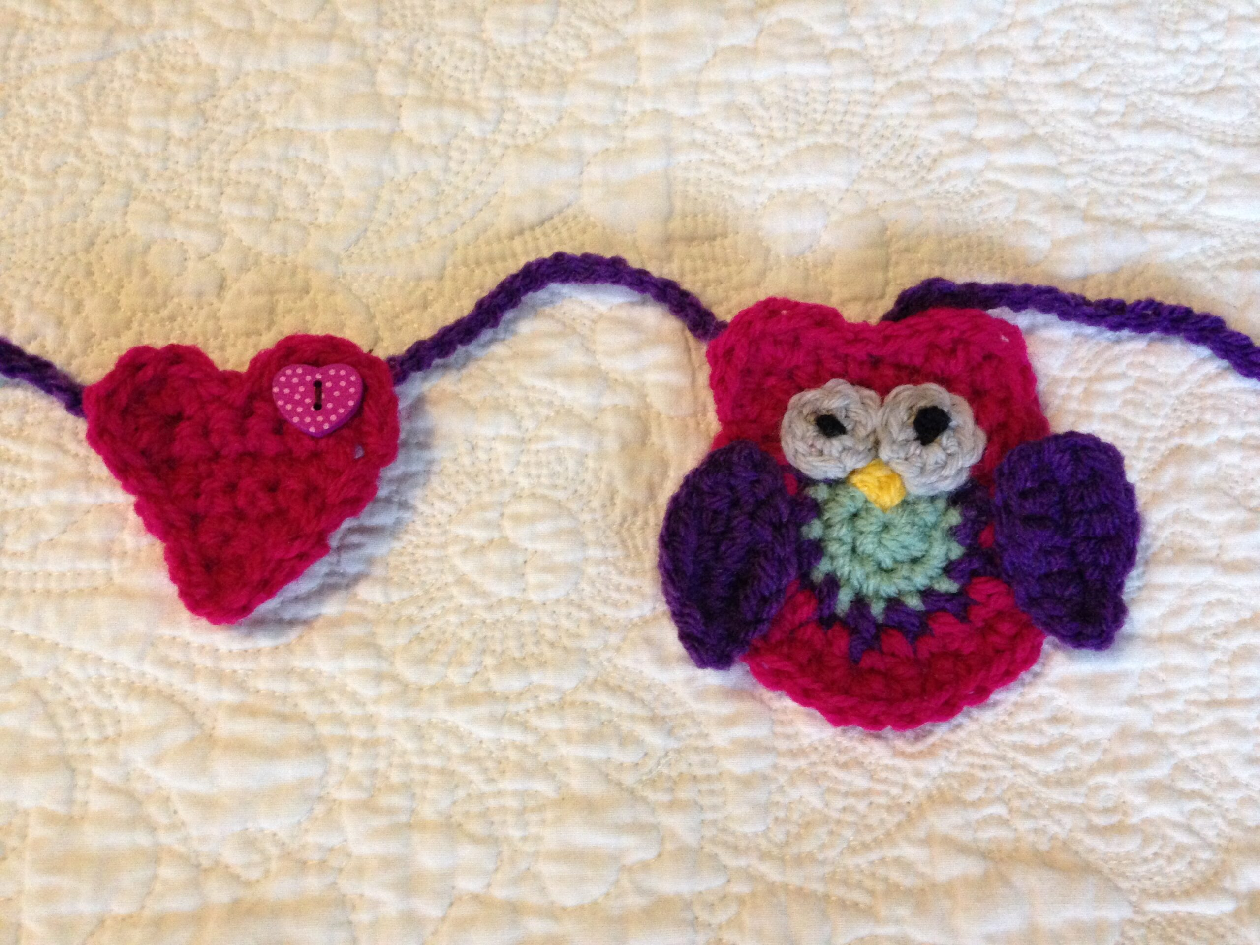 Heart and Owl crocheted bunting.