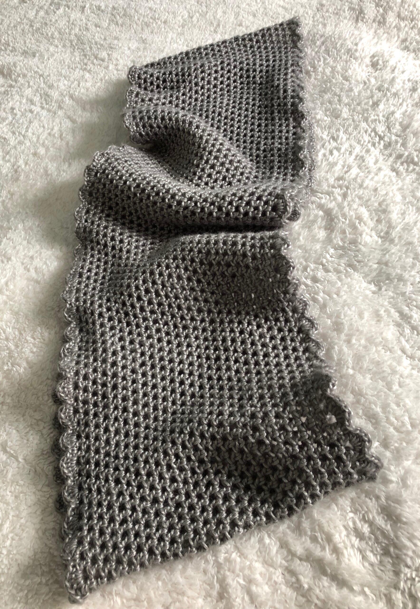 Soft grey infinity scarf.