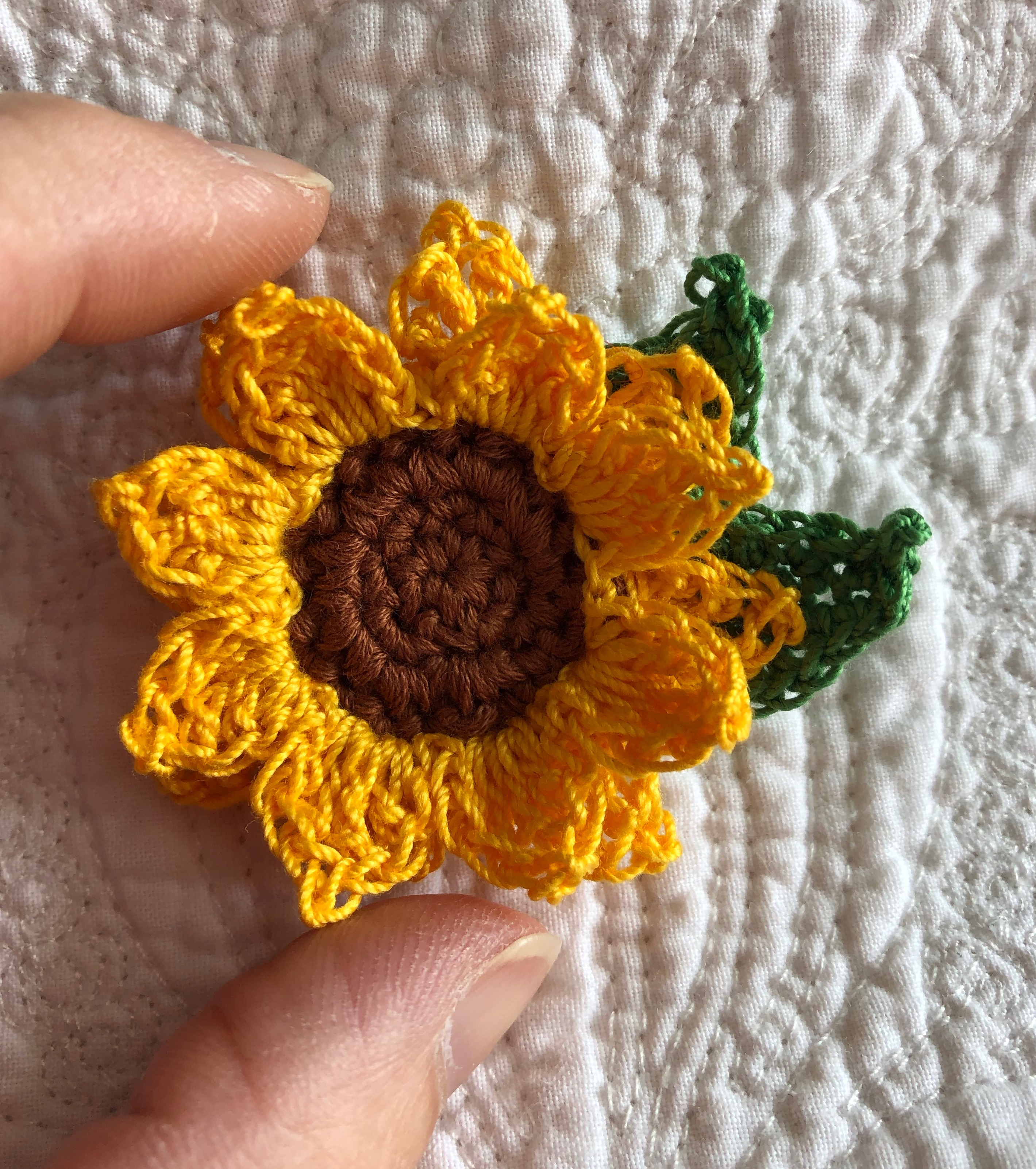 Miniature Sunflower brooch.