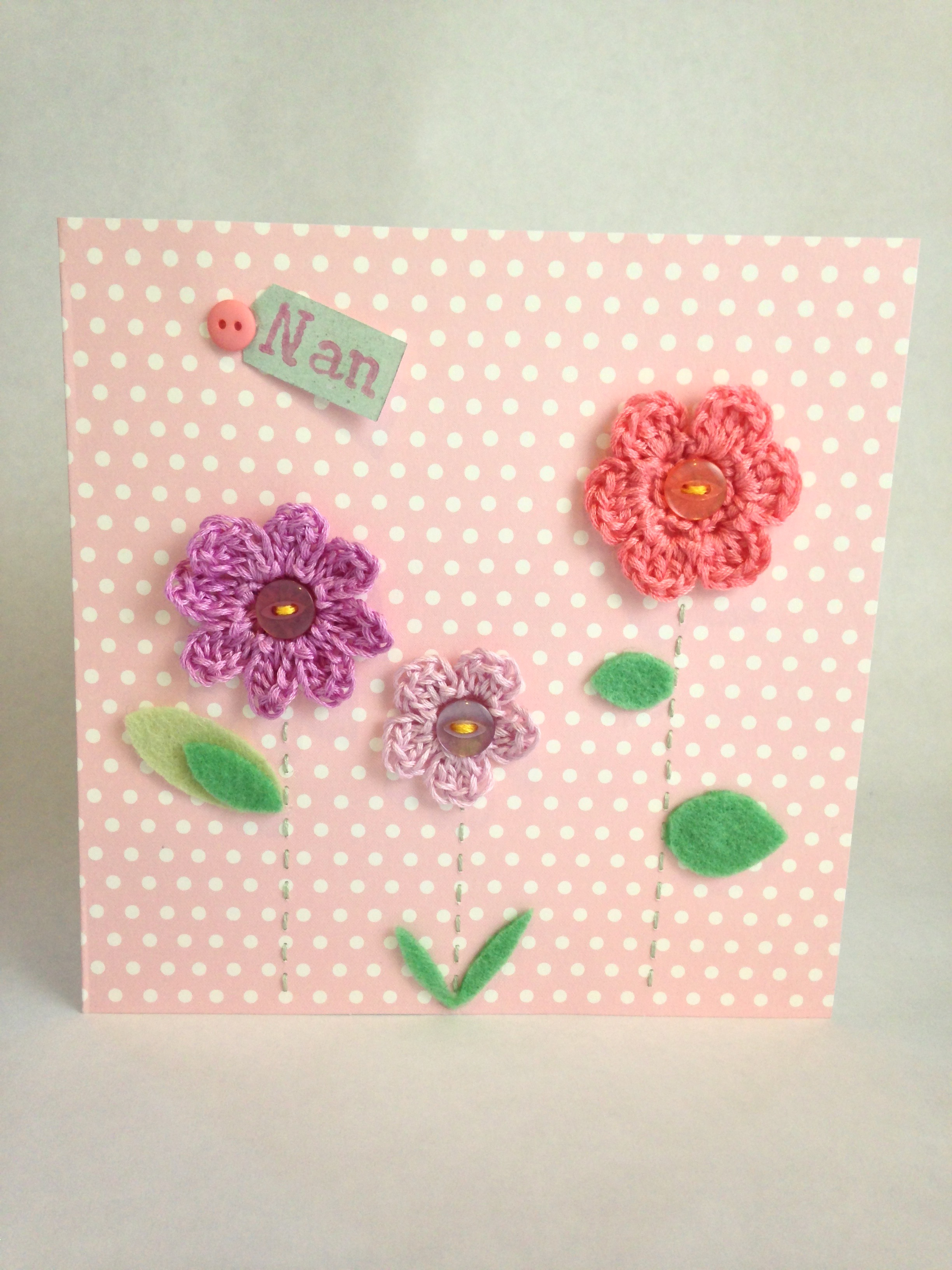 Hand crocheted and hand stitched greetings card.