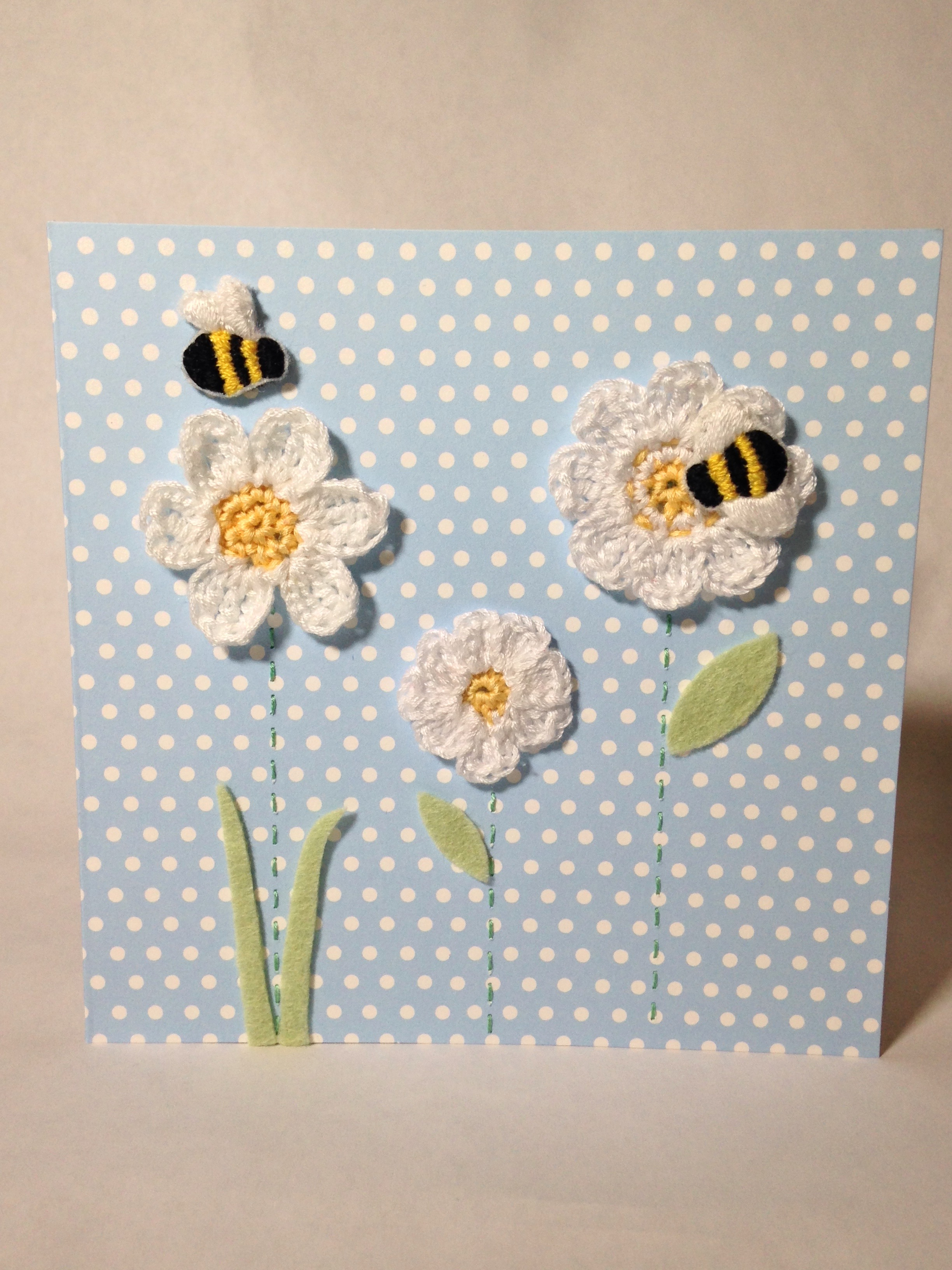 Bumblebee and flowers greetings card.