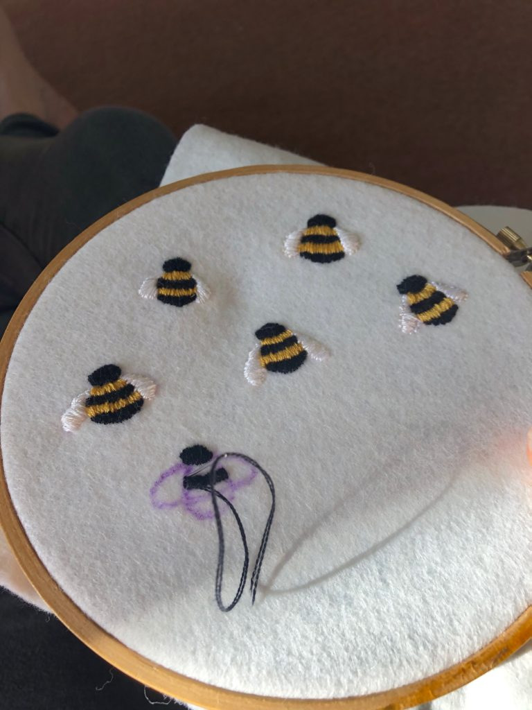 Hand embroidered bumble bees. Work in progress!