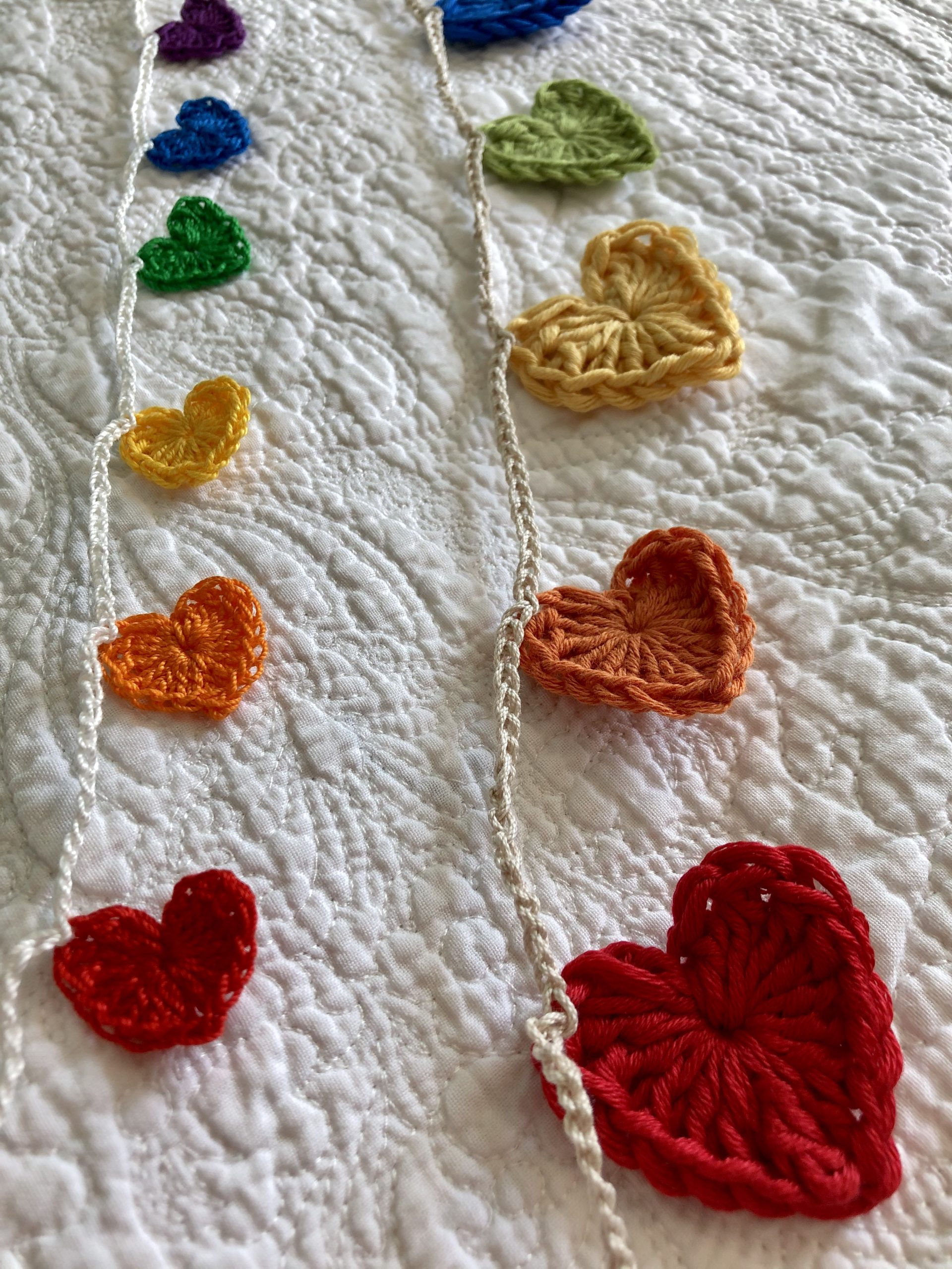 Rainbow hearts garlands.