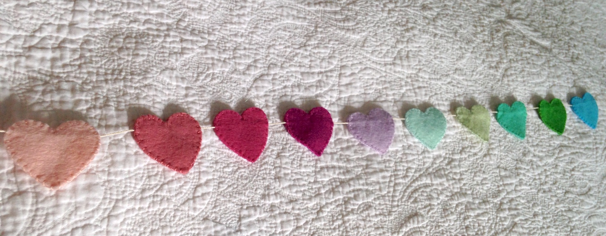 Mini heart, multi pastel colours, felt bunting.