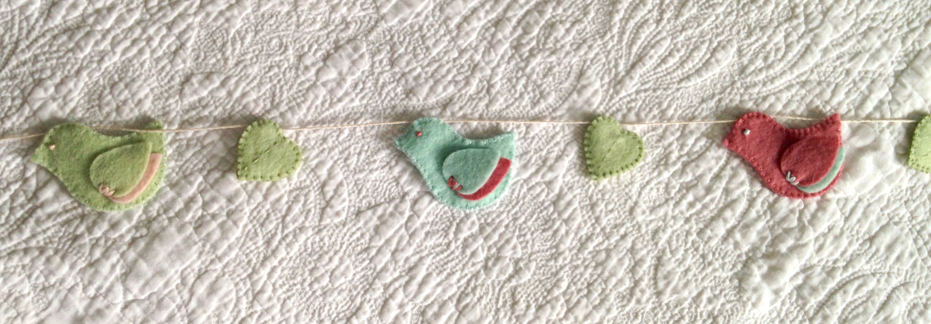 Bird and heart bunting.