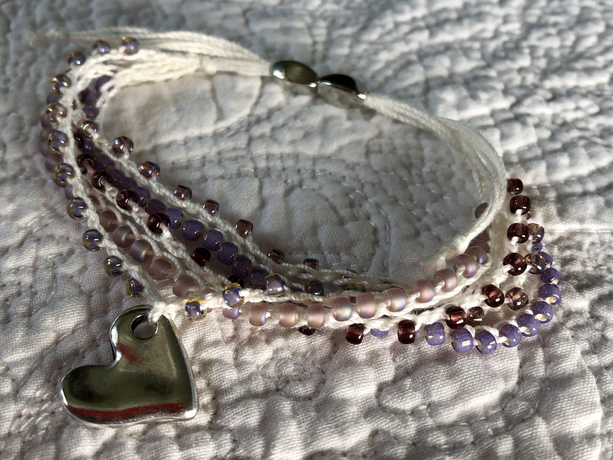 Heart charm bracelet.