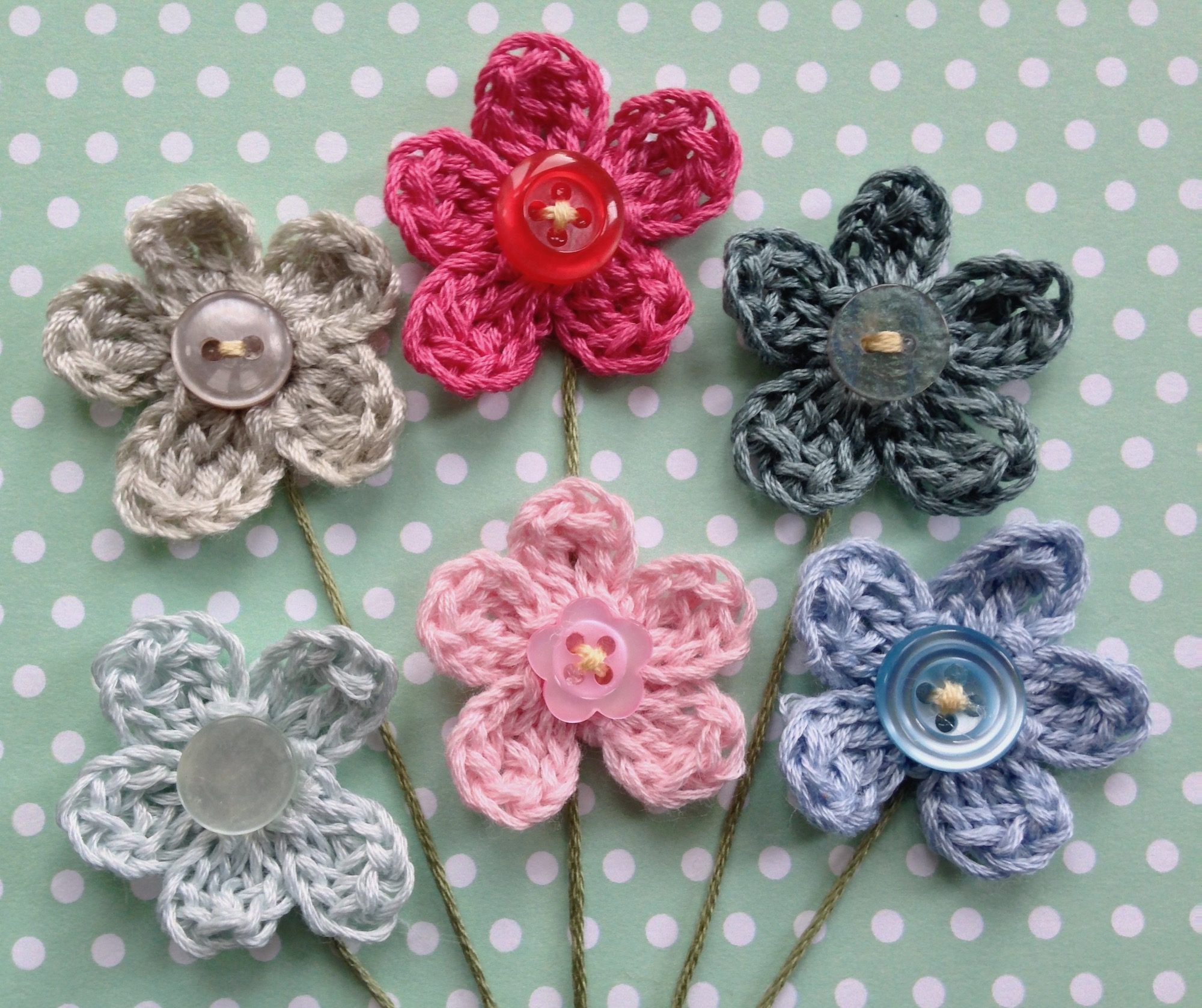 Posy of crocheted flowers greetings card.