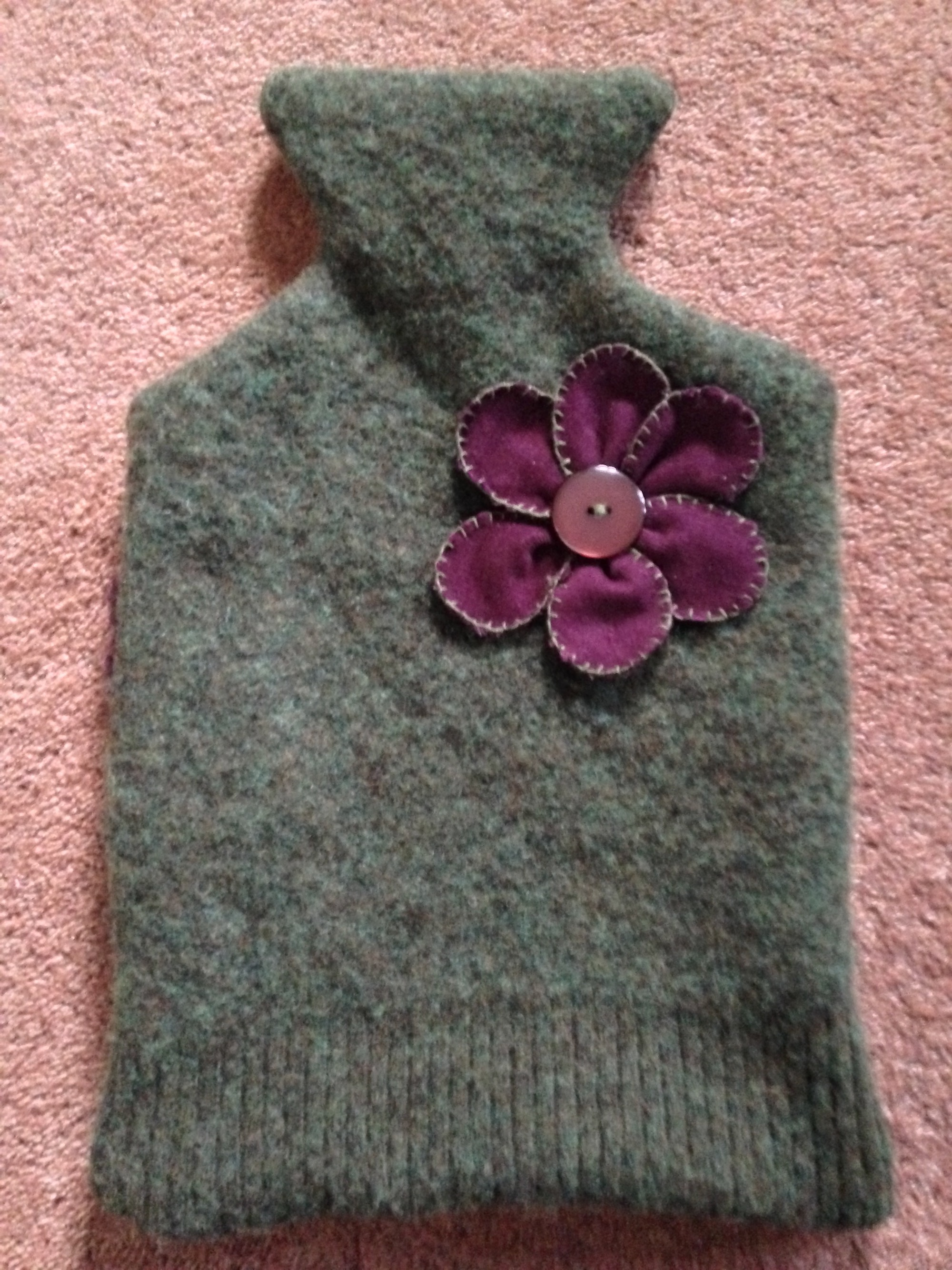 Recycled jumper, hot water bottle cover.