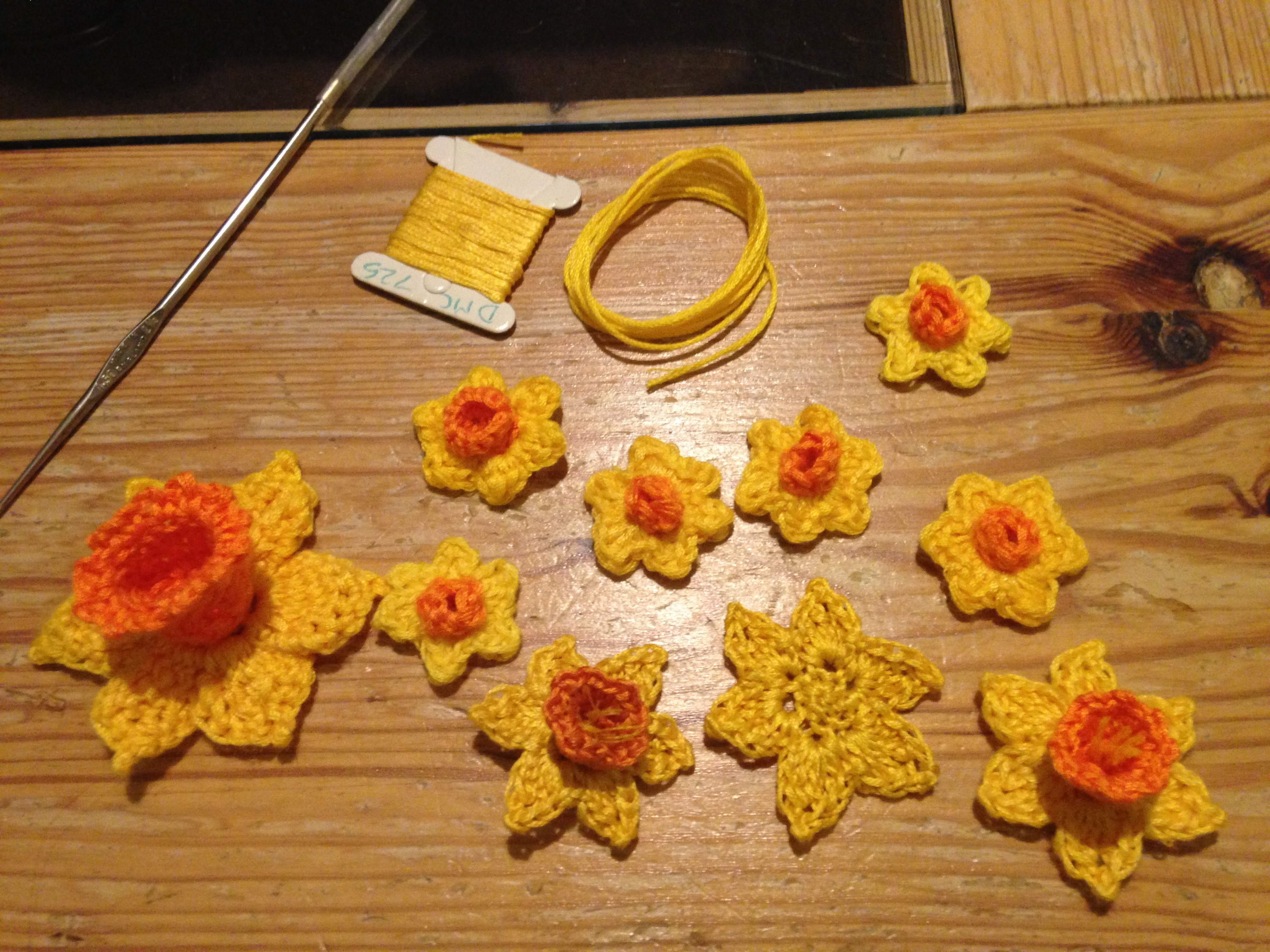 Developing Daffodil patterns, using a selection of different sizes, using different yarns and shades.